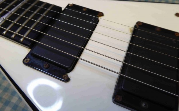Close up of the Jackson with it's broken pickup rings.