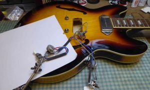 Epiphone Casino with pickup wiring removed in order to replace the pickups with Radioshoppickups
