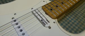 Close up photograph of Lace Sensor Pickup fitted to a Fender Stratocaster